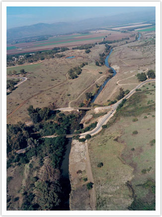 Aerial view looking north toward the Benot Ya'aqov Bridge and the Hula Valley